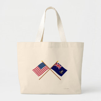 US and British Virgin Islands Crossed Flags Jumbo Tote Bag