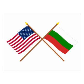 US and Bulgaria Crossed Flags Postcard