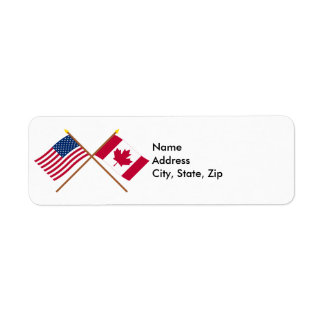 US and Canada Crossed Flags Return Address Label