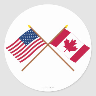 US and Canada Crossed Flags Round Sticker