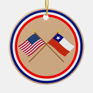US and Chile Crossed Flags Christmas Tree Ornament