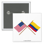 US and Colombia Crossed Flags Buttons