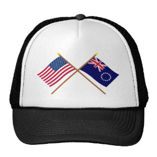 US and Cook Islands Crossed Flags Cap