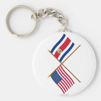 US and Costa Rica Crossed Flags Basic Round Button Key Ring