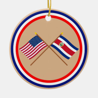 US and Costa Rica Crossed Flags Christmas Tree Ornaments