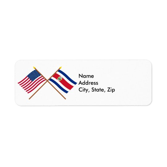 US and Costa Rica Crossed Flags Return Address Label