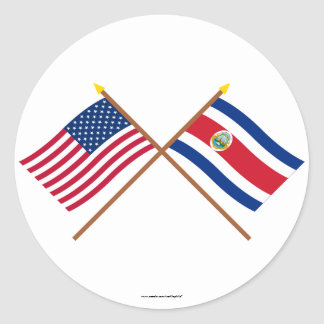 US and Costa Rica Crossed Flags Round Sticker