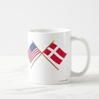US and Denmark Crossed Flags Coffee Mug
