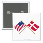 US and Denmark Crossed Flags Pins