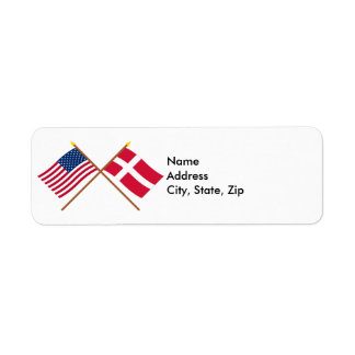 US and Denmark Crossed Flags Return Address Label
