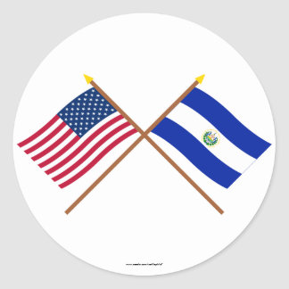 US and El Salvador Crossed Flags Round Sticker