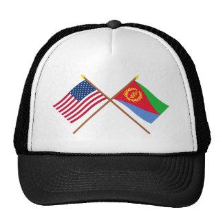 US and Eritrea Crossed Flags Cap