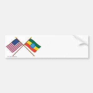 US and Ethiopia Crossed Flags Bumper Sticker