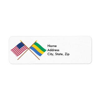 US and Gabon Crossed Flags Return Address Label