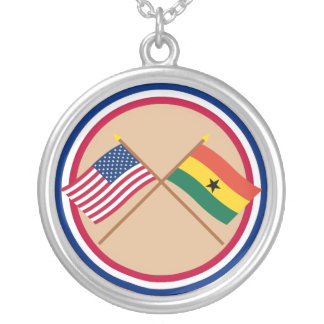 US and Ghana Crossed Flags Jewelry