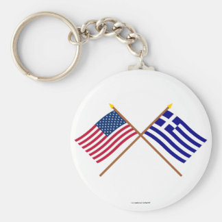 US and Greece Crossed Flags Keychains