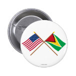 US and Guyana Crossed Flags Pinback Button