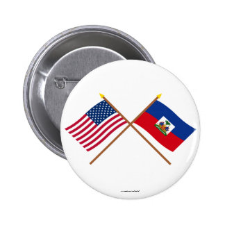US and Haiti Crossed Flags Button