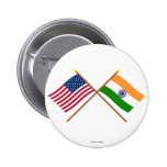 US and India Crossed Flags Pin