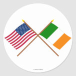 US and Ireland Crossed Flags Round Stickers