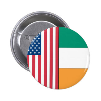 Us and Ireland Flags Pinback Buttons