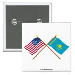 US and Kazakhstan Crossed Flags Pins