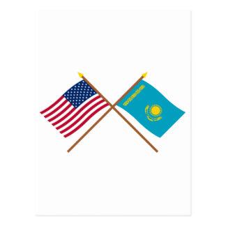 US and Kazakhstan Crossed Flags Postcard