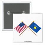US and Kosovo Crossed Flags Pinback Buttons