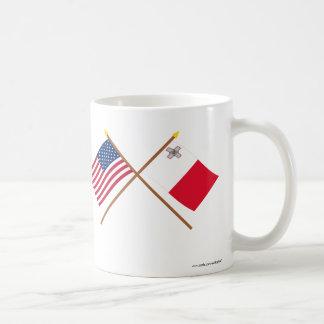 US and Malta Crossed Flags Coffee Mug