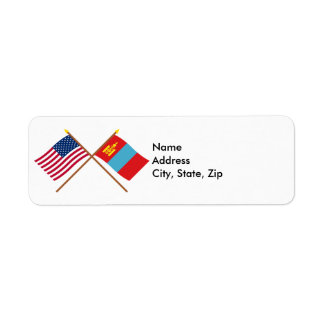 US and Mongolia Crossed Flags Return Address Label