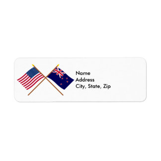 US and New Zealand Crossed Flags Return Address Label