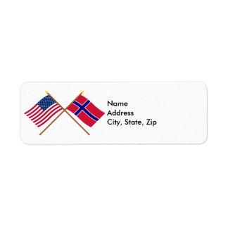 US and Norway Crossed Flags Return Address Label