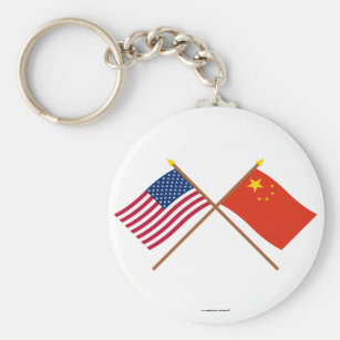 US and People's Republic of China Crossed Flags Key Ring
