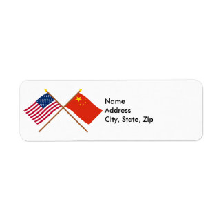 US and People's Republic of China Crossed Flags Return Address Label