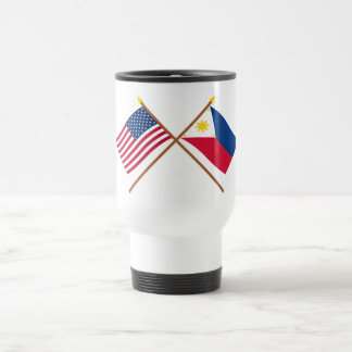 US and Philippines Crossed Flags Stainless Steel Travel Mug