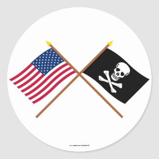 US and Pirate Crossed Flags Round Stickers