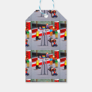 US and Pride Flags made of blocks Gift Tags