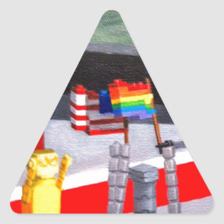 US and Pride Flags made of blocks Triangle Sticker