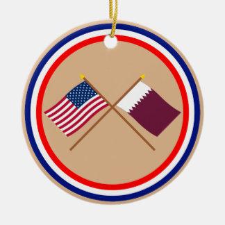 US and Qatar Crossed Flags Round Ceramic Decoration