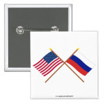 US and Russia Crossed Flags Pinback Buttons