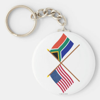 US and South Africa Crossed Flags Key Chains