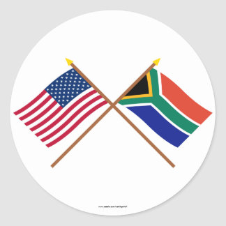 US and South Africa Crossed Flags Round Sticker