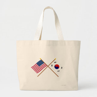 US and South Korea Crossed Flags Large Tote Bag