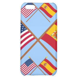 US and Spain Crossed Flags Case For iPhone 5C