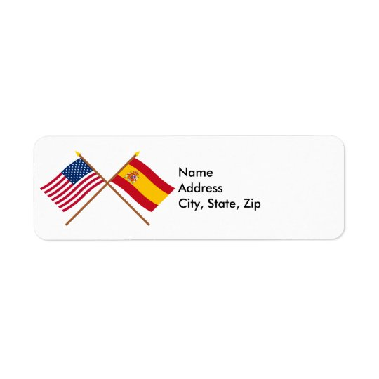US and Spain Crossed Flags Return Address Label