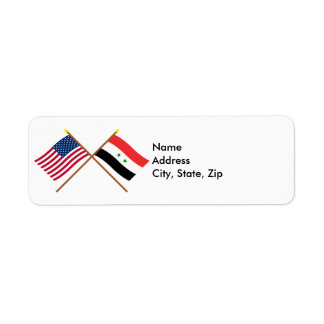 US and Syria Crossed Flags Return Address Label