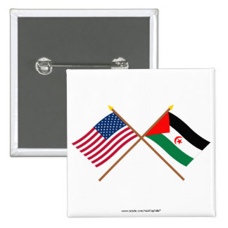 US and Western Sahara Crossed Flags Pinback Buttons