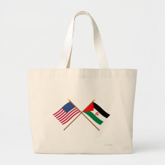 US and Western Sahara Crossed Flags Canvas Bag
