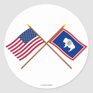 US and Wyoming Crossed Flags Stickers