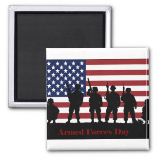 US Armed Forces Day American Flag with Soldiers Refrigerator Magnet
